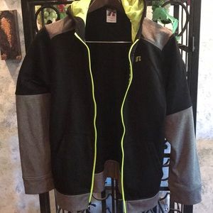 Russell Brand Zip Up Hoodie for Boys.  Black/Neon
